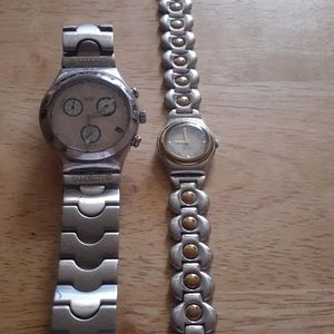 Men and womens Swatch watches.
